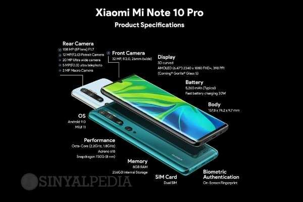 Spesifikasi Xiaomi Mi Note 10 Pro